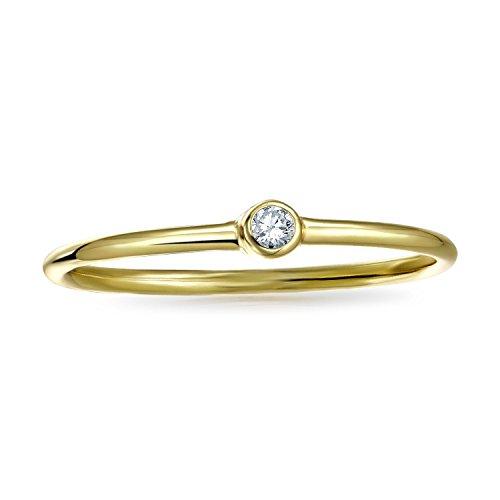 Bling Jewelry Plata 925chapada en oro de ancho fino Midi anillo