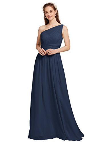 AWEI Maxi Bridesmaid Dress One Shoulder Prom Dresses Chiffon Formal Dresses for Women, Navy, US4