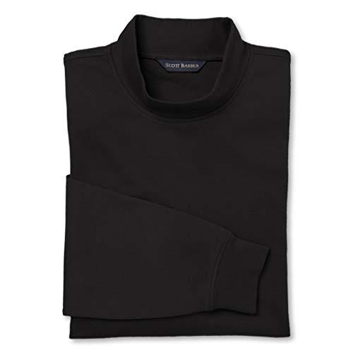 (Scott Barber Men's Pima Cotton Interlock Mock Turtleneck, Black, X-Large)