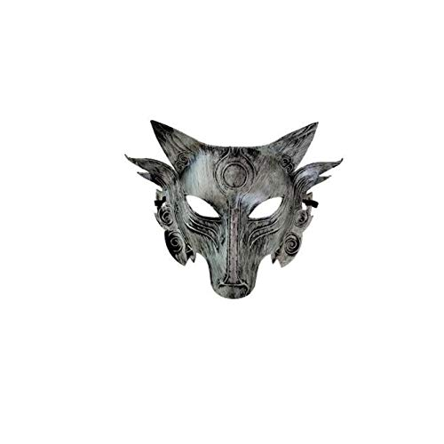 Halloween mask Animal Wolf Head mask Masquerade mask (Silver) -