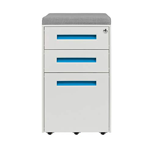 STOCKPILE Seated 3-Drawer Mobile File Cabinet with Removable Magnetic Cushion Seat, Commercial-Grade, Pre-Assembled (White/Blue with Grey -