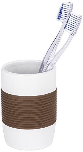 WENKO 21678100 Zahnputzbecher Bahia Braun - Zahnbürstenhalter für Zahnbürste und Zahnpasta, Keramik, 7.5 x 10.6 x 7.5 cm, Weiß