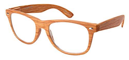 Edge I-Wear Vintage Horn Rimmed Reading Glasses Men Wood Pattern Spring Hinge Readers for Women 1.25 - Glass Vintage Pattern