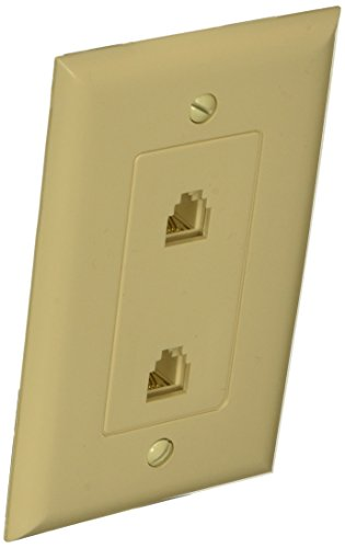 Morris 80070 Decorative Dual RJ11 4 Conductor Phone Jack Wall Plate, 1 Piece, ()