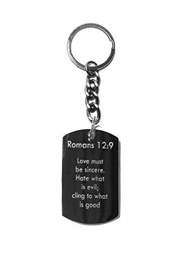 Romans 12:9 Bible Verse - Metal Ring Key Chain Keychain