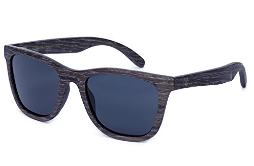 Tree Tribe Wood Wayfarer Sunglasses, Polarized - Black Apricot Wooden Frames + Bamboo - Inch Sunglasses 6