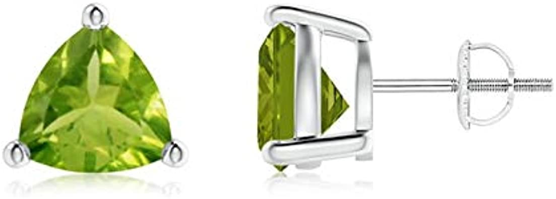 4 Ct Peridot 8mm Round Stud Earrings White Gold Silver