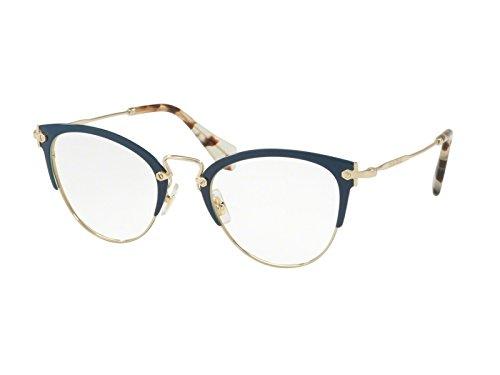 - Miu Miu MU 50QV - VYH1O1 Eyeglass Frame BLUE/PALE GOLD w/ Clear Demo Lens 50mm