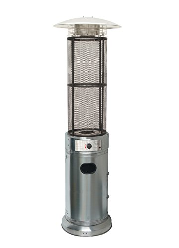 Bronze Deluxe Patio Heater (Belleze Stainless Steel Circle Round Pyramid Outdoor Home Commercial Glass Tube with Flames Heater Patio Heater)