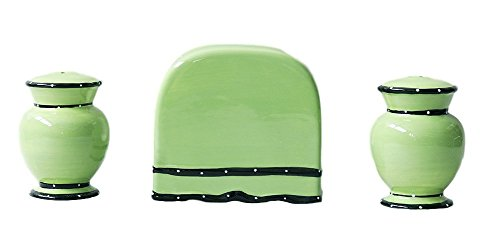 Ruffle 3 Piece Stove Top Set (Green Glazed Pistachio Ceramic)