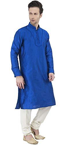 Kurta Pajama Long Sleeve Button Down Dress Shirt Indian Men Wedding Ethnic Casual Dress Traditional Set -XL by SKAVIJ (Image #2)