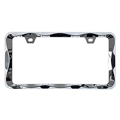 Sgooky 3D Curly Wave Pattern License Plate Holder Chrome License Plate Frame from Pure Zinc Alloy Metal Perfect Plate Holder: Automotive