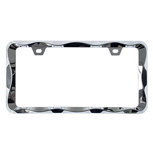 Sgooky 3D Curly Wave Pattern License Plate Holder Chrome License Plate Frame from Pure Zinc Alloy Metal Perfect Plate Holder