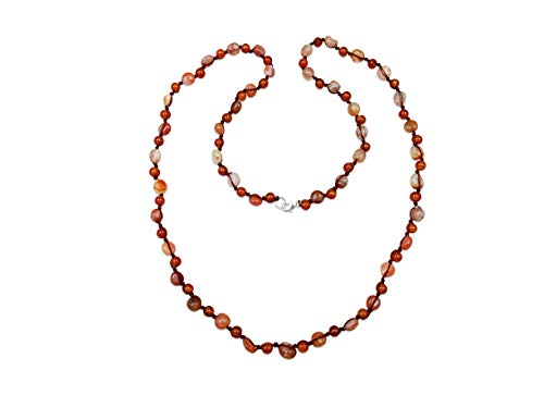 """MGR MY GEMS ROCK! Hand Knotted Genuine Gem Carnelian Stone Alternating Tumbled Beads and Round Beads Long or Multi Strand Beaded Necklace, 36"""" Long."""