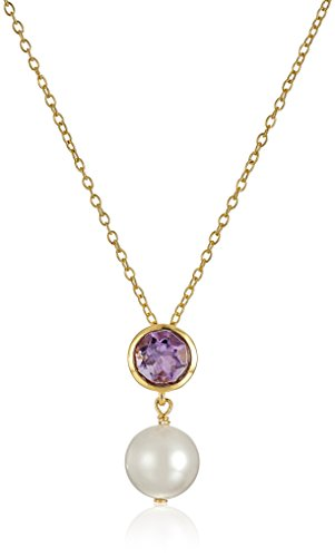 18k Gold Plated Sterling Silver Genuine Amethyst and Freshwater Cultured Pearl Birthstone Pendant Necklace, 18