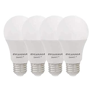 SYLVANIA Smart+ WiFi Soft White Dimmable A19 LED Light Bulb, CRI 90+, 60W Equivalent, Works with Alexa and Google Assistant, 4 Pack