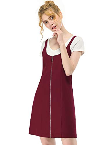 Allegra K Women's Pinafore Dresses Casual Summer Suspender Exposed Zip Up Overall Dress Burgundy M (US 10)