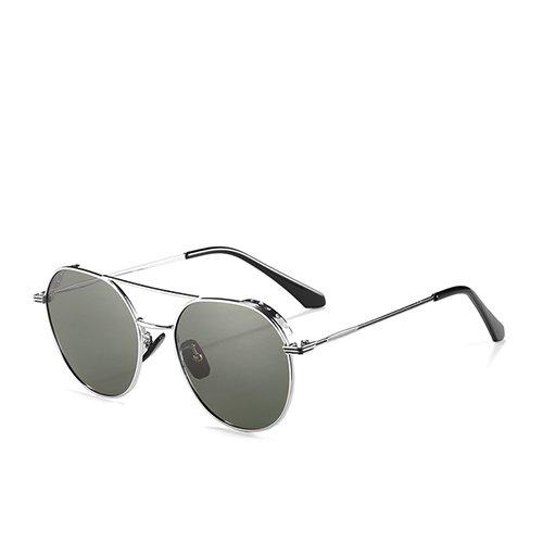 Sol para los Hombres Gafas Unisex Guía Smoke TL de de la Gafas Espejo C2 de Aviador de Sunglasses Gafas Silver de de Bastidor Viaje Pistola Metal polarizadas Espejo C1 Tx8vqa