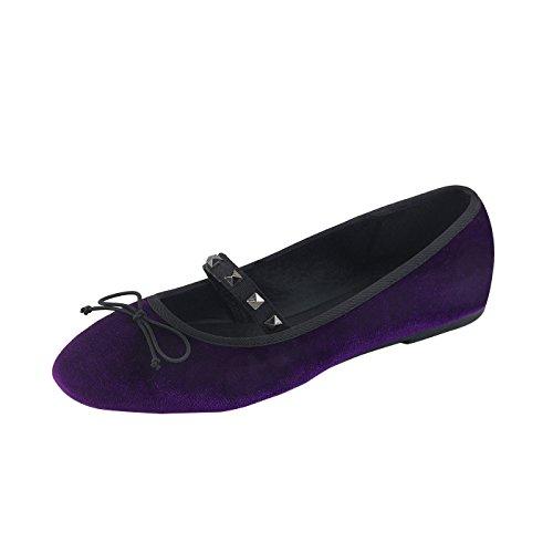 Demonia Ballerinas Aus veganen violetten Leder, Schleife IM Zehenbereich DRAC-07