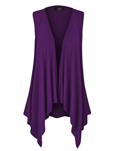 WSK1071 Womens Lightweight Sleeveless Draped Open Cardigan XL Dark_Purple]()