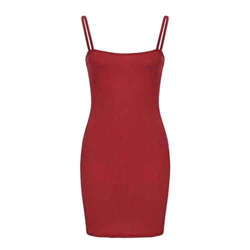 donna donna Mini Solido Rosso da senza S Vestiti sexy maniche mini Sysnant Casuale elegante estate vestito a donna maniche Donna abito BnIITdwqR