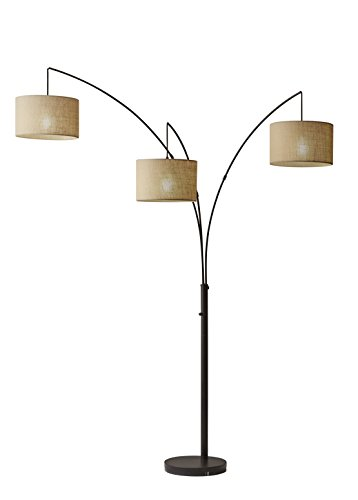 Three Lamp 26 - Adesso 4238-26 Trinity Arc Floor Lamp Antique Bronze Finish, Beige Burlap Lamp. Home Decor Lamps and Light Fixtures, 82