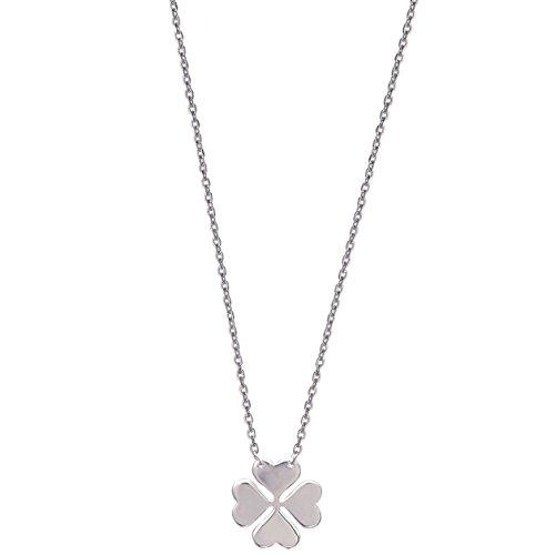 Collier en Argent 925/000 - Chaîne avec Pendentif : Trèfle à 4 Feuilles en Forme de Coeurs - Bijoux Femme