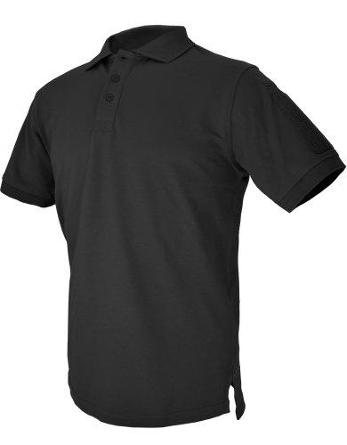 HAZARD 4 Quickdry Undervest Battle Polo Tactical Velcro-Arm-Patch Plain Front Breathable Shirt - Black (Medium) ()