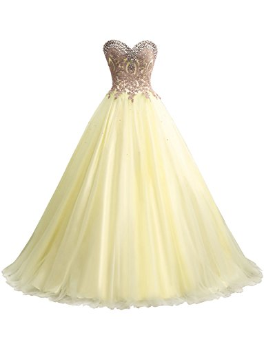 Erosebridal Gold Embroidery Ball Gown Quinceanera Dresses Women's Wedding Dresses US 6 ()