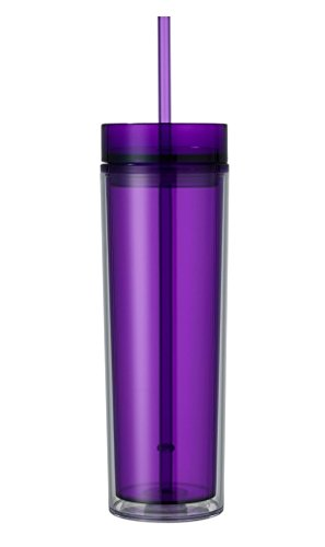 (The SlimJim 16 oz Double Wall Skinny Acrylic Hot Cold Drink Tumbler with Straw (Purple) )