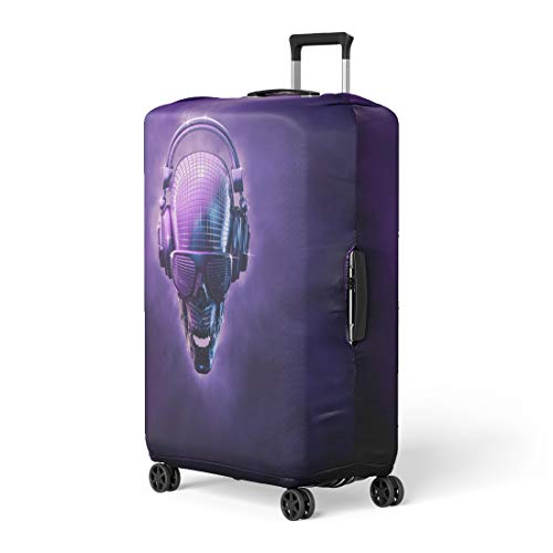 Pinbeam Luggage Cover Disco Ball Skull 3D of Shaped Mirror Headphones Travel Suitcase Cover Protector Baggage Case Fits 22-24 inches]()