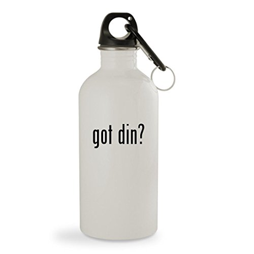 got din? - 20oz White Sturdy Stainless Steel Water Bottle with Carabiner by Knick Knack Gifts