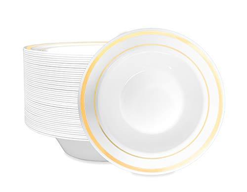 50-Piece Elegant Plastic Bowls Set Service for 50 Disposable Bowls (Gold Rim) - Stock Your Home ()