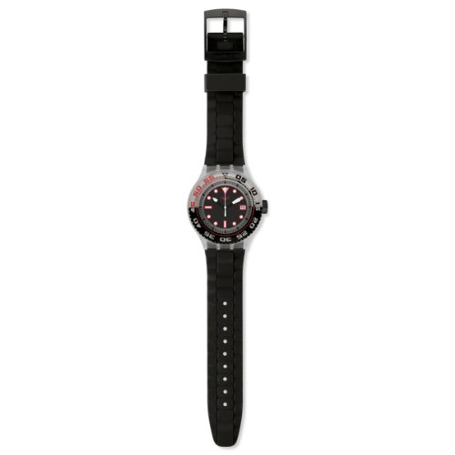Swatch Scuba Stormy Black Dial Black Silicone Rubber Unisex Watch SUUK400