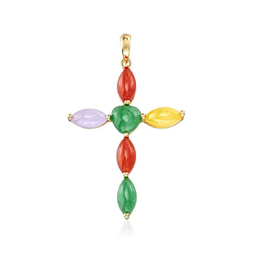Ross-Simons Multicolored Jade Cross Pendant in 14kt Yellow Gold (Yellow Jade 14kt Pendant)
