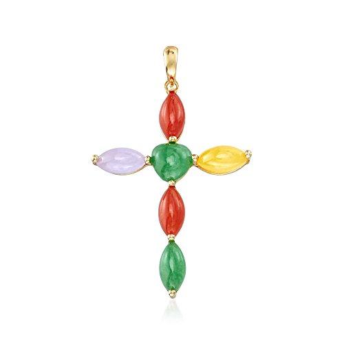 Ross-Simons Multicolored Jade Cross Pendant in 14kt Yellow Gold (Multi Colored Cross Yellow)