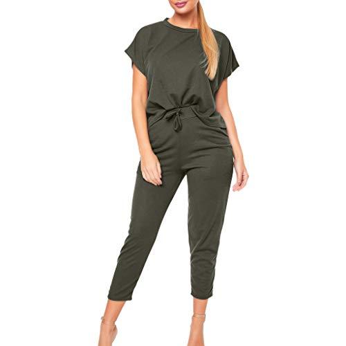 2 Funny Womens Tracksuit - Duseedik 2PCS Women's Tracksuits Set Summer Sport Lounge Wear Ladies Casual Tops Pant Suit Shirt T-Shirt Green