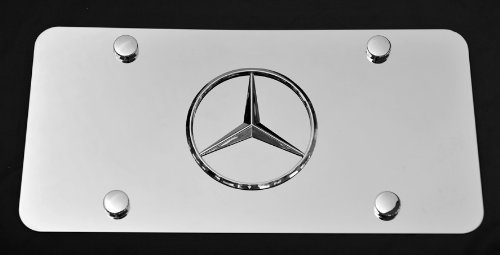(Mercedes-benz 3d Chrome Emblem Stainless Steel License Plate Chrome)