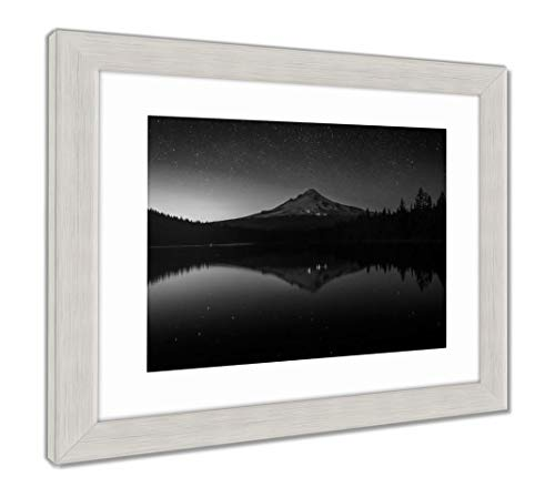 (Ashley Framed Prints Stars in The Night Sky and Mount Hood Reflecting in Trillium Lak, Wall Art Home Decoration, Black/White, 34x40 (Frame Size), Silver Frame, AG5626444)