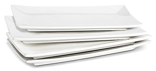 LIFVER 10 Inch Porcelain Serving Platters, Rectangular Plates, White, Set of 4 -