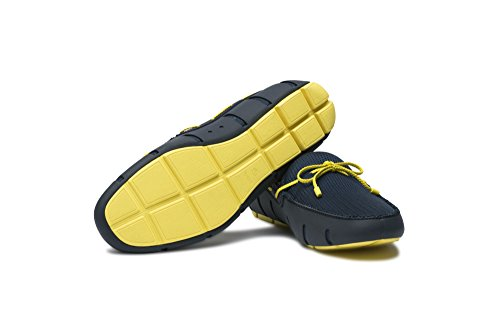 SWIMS Navy Yellow Lace Braided Men's Loafers IqrIFw