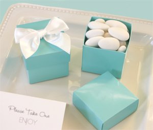 Mini Cube Boxes - Aqua Blue (Set of 288) - Baby Shower Gifts & Wedding Favors