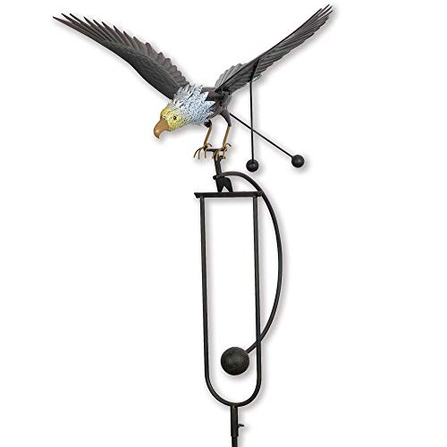 Bits and Pieces - Flying Eagle Garden Stake - Metal Garden Sculpture - Outdoor Lawn and Garden Décor (Eagle Metal Flying)