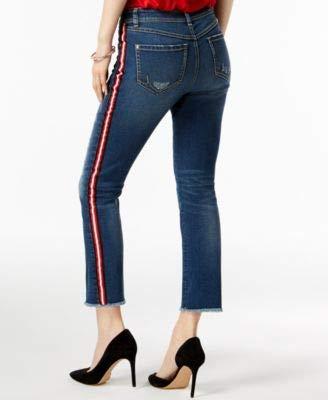 (I.N.C. International Concepts Women's Petite Racing-Stripe Ankle Jeans (Indigo, 10P))