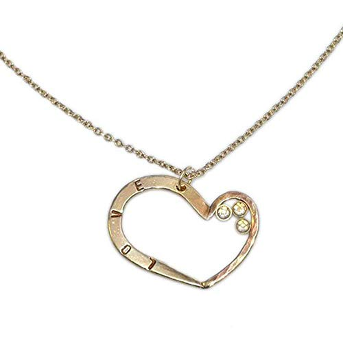 (Gold Hammered Heart 2mm White CZs Pendant Necklace/Heart Charm Necklace, Heart Drop Necklace)