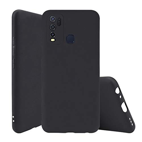 Soezit Back Case Cover for Vivo Y30, Soft Flexible Matte Finish Smooth Grip Candy Case – Black