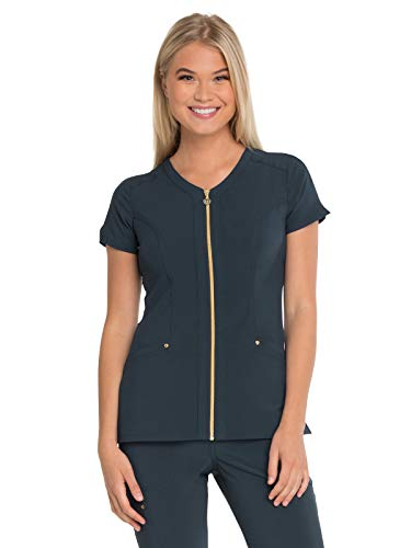 Top Scrub Gold (HeartSoul Love Always HS655 Amorous Zip Front V-Neck Top Pewter L)
