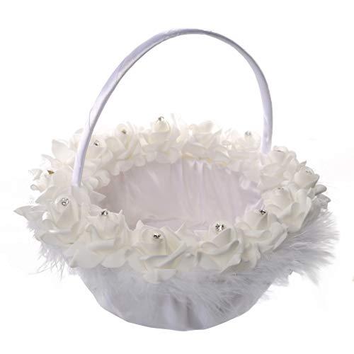 TOPBIGGER Romantic Wedding Ceremony Party Bride Flower Basket Bow Silk Flower Girl Flower Basket White Simple Portable Flower Basket