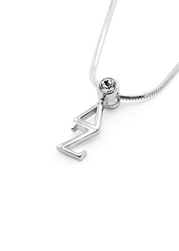 The Collegiate Standard Delta Zeta Sterling Silver Lavaliere with Swarovski Clear Crystal