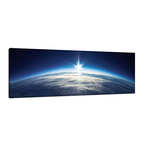 Pyradecor Blue Universe Earth Pictures Paintings Canvas Wall Art Prints for Living Room Bedroom Office Home Decorations Large Modern Stretched and Framed Landscape Outer Space Giclee Canvas Artwork